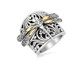 Baroque Dragonfly Motif Ring in 18K Yellow Gold and Sterling Silver