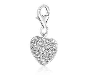 Heart Shaped Charm with Embellished White Tone Crystals in Sterling Silver