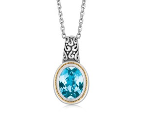 Fancy Necklace with Oval Blue Topaz Milgrained Pendant in 18K Yellow Gold and Sterling Silver
