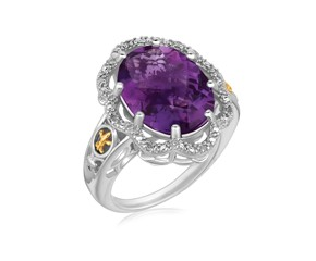 Ornate Oval Amethyst and Diamond Embellished Fleur De Lis Motif Ring in 18K Yellow Gold and Sterling Silver (.03 ct. tw.)