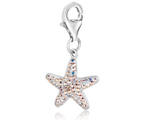 Starfish Clear Crystal Encrusted Charm in Sterling Silver