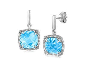 Sky Blue Topaz Earrings with White Sapphire Accented Fleur De Lis Motifs in Sterling Silver