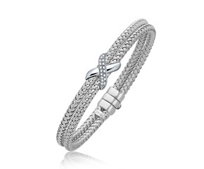 Dual Row Basket Weave Bangle with Diamond Cross Accent in 14K White Gold (7.0mm)