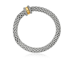Popcorn Stretchable Bangle in 18K Yellow Gold and Sterling Silver