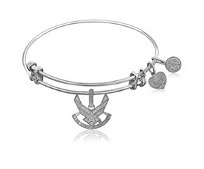 Expandable White Tone Brass Bangle with U.S. Air Force Symbol