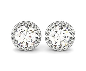 Triple Prong Round Halo Earrings in 14K White Gold (1 ct. tw.)