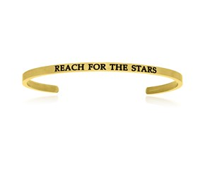 Yellow Stainless Steel Reach For The Stars Cuff Bracelet