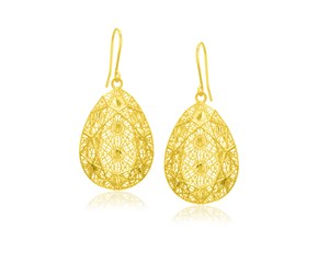 Web Mesh Pattern Teardrop Earrings in 14K Yellow Gold