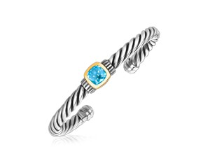 Blue Topaz Stationed Open Cable Cuff Bangle in 18K Yellow Gold and Sterling Silver