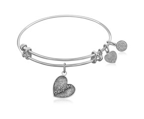 Expandable White Tone Brass Bangle with Daughter Special Love Symbol