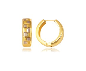 Reversible Textured Hinged Hoop Huggie Earrings in 14K Yellow Gold