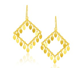 Marquise Sequin Diamond Shape Earrings in 14K Yellow Gold