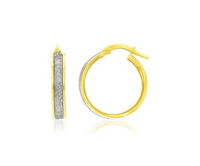 Hoop Earrings with Glitter Center in 14K Two-Tone Gold