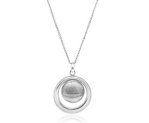 Circle Pendant with Polished Open Border in Sterling Silver