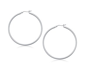 Classic Hoop Earrings in 14K White Gold (50mm Diameter) (2.0mm)