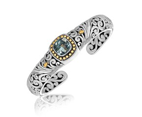 Cushion Blue Topaz Stationed Baroque Open Bangle in 18K Yellow Gold and Sterling Silver