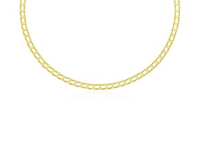 Rail Style Link Men's Necklace in 14K Yellow Gold