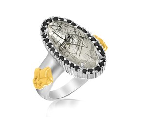 Black Spinel and Rutilated Quartz Oval Fleur De Lis Ring in 18K Yellow Gold and Sterling Silver