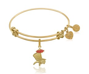Expandable Yellow Tone Brass Bangle with Enamel Beach Chair Charm Symbol