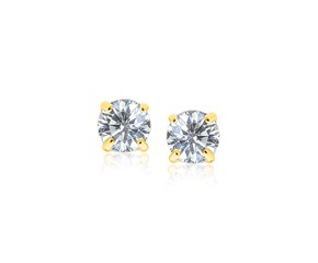 6mm Faceted White Cubic Zirconia Stud Earrings in 14K Yellow Gold