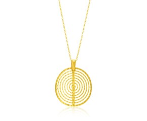 Concentric Textured Circle Pendant in 14K Yellow Gold
