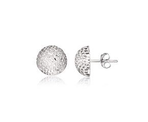 Mesh Style Round Stud Earrings in Sterling Silver