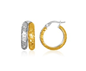 14K Two-Tone Gold Two-Row Diamond Cut Hoop Style Earrings