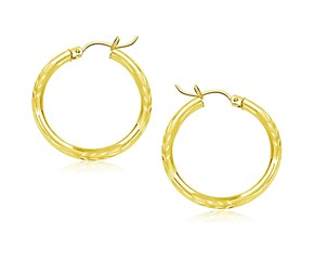 Classic Diamond Cut Hoop Earrings in 10K Yellow Gold (25mm Diameter) (3.0mm)