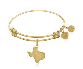 Expandable Yellow Tone Brass Bangle with Texas Symbol