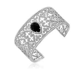 Byzantine Style Cuff with Black Onyx and White Sapphires in Sterling Silver