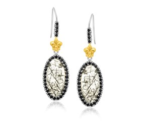 Oval Rutilated Quartz and Black Spinel Fleur De Lis Drop Earrings in 18K Yellow Gold and Sterling Silver
