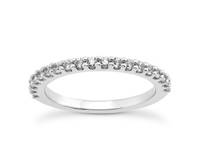 Shared Prong Diamond Wedding Ring Band with U Settings in 14K White Gold
