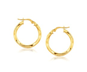 Classic Twist Hoop Earrings in 14K Yellow Gold (7/8 inch Diameter)