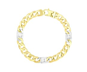 Curb and Mariner Style Link Men's Bracelet in 14K Two-Tone Gold
