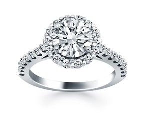 Cathedral Engagement Ring Mounting with Micro Prong Diamond Halo in 14K White Gold