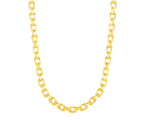 Shiny Oval Link Necklace in 14K Yellow Gold