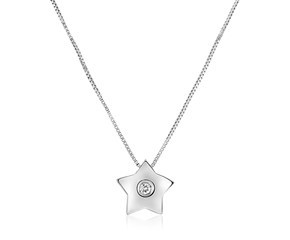 14K White Gold Necklace with Gold and Diamond Star Pendant