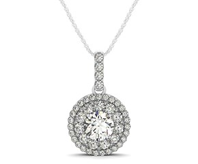 Round Halo Diamond Studded Pendant in 14K White Gold (1 1/4 ct. tw.)
