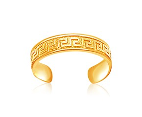 Labyrinth Pattern Toe Ring in 14K Yellow Gold