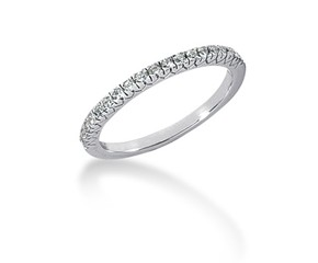 Fishtail V Pave Diamond Wedding Ring Band in 14K White Gold