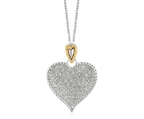 Heart Shape Pave Diamond Pendant in Sterling Silver and 14K Yellow Gold