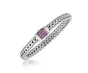 Pink Sapphire Accented Fancy Braided Style Men's Bracelet in Sterling Silver