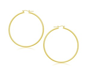 Classic Hoop Earrings in 14K Yellow Gold (55mm Diameter) (2.0mm)