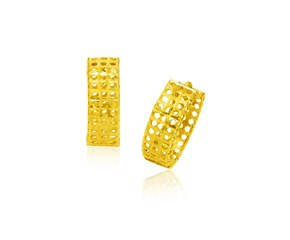 Mesh Hinged Snuggable Earrings in 14K Yellow Gold
