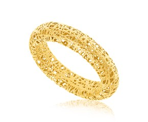 Fancy Tube Motif Mesh Wire Ring in 14K Yellow Gold