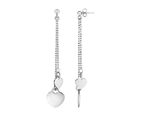 Heart and Ball Chain Drop Earrings in Sterling Silver