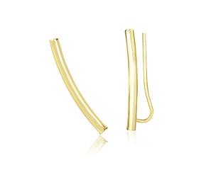 Shiny Curved Tube Earrings in 14K Yellow Gold