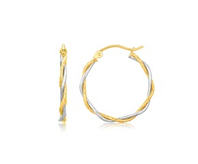 Twisted Hoop Earrings in 14K Two Tone Gold (1 inch Diameter)