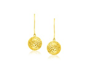 Round Mesh Ball Dangling Earrings in 14K Yellow Gold