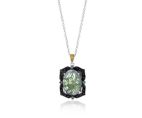 Green Amethyst, Tsavorite, and Black Diamond Accented Oval Pendant in 18K Yellow Gold and Sterling Silver